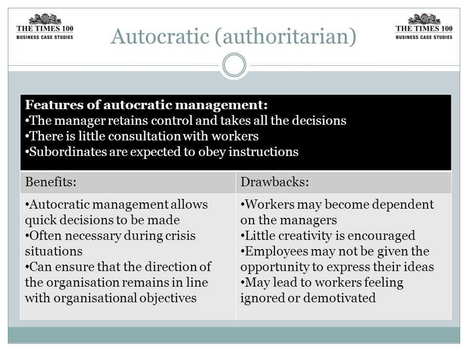 Autocratic (authoritarian) Features of autocratic management: The manager retains control and takes all the decisions There is little consultation with workers Subordinates are expected to obey instructions Benefits:Drawbacks: Autocratic management allows quick decisions to be made Often necessary during crisis situations Can ensure that the direction of the organisation remains in line with organisational objectives Workers may become dependent on the managers Little creativity is encouraged Employees may not be given the opportunity to express their ideas May lead to workers feeling ignored or demotivated