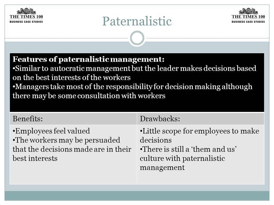 Paternalistic Features of paternalistic management: Similar to autocratic management but the leader makes decisions based on the best interests of the workers Managers take most of the responsibility for decision making although there may be some consultation with workers Benefits:Drawbacks: Employees feel valued The workers may be persuaded that the decisions made are in their best interests Little scope for employees to make decisions There is still a 'them and us' culture with paternalistic management