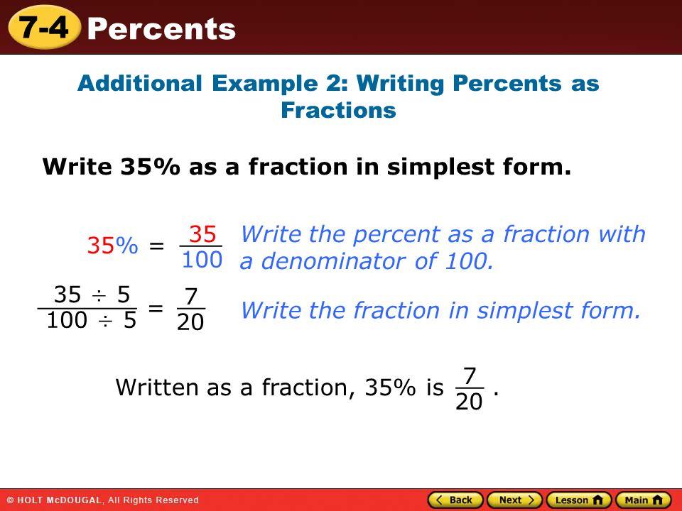 7-4 Percents Warm Up Warm Up Lesson Presentation Lesson ...