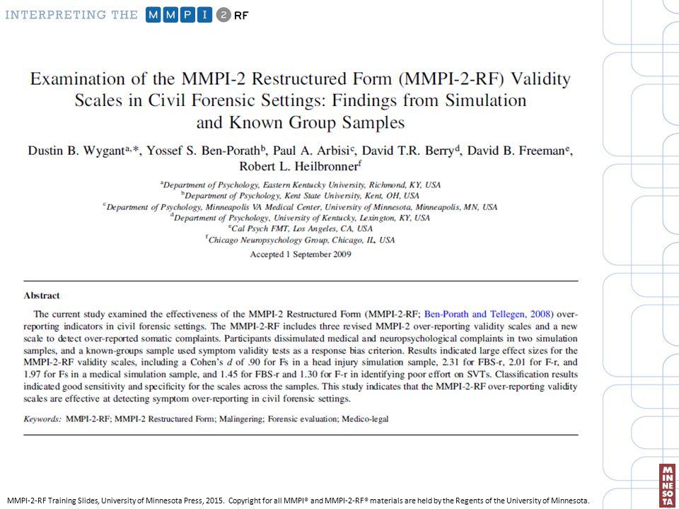 INTERPRETING THE MMPI-2-RF - ppt download