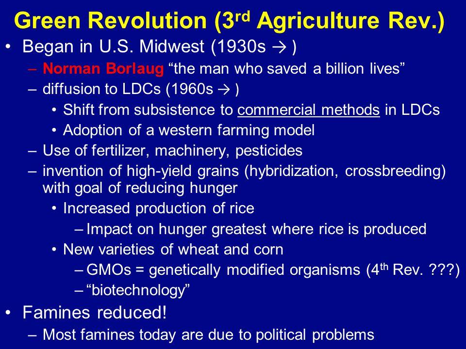 Green Revolution (3 rd Agriculture Rev.) Began in U.S.