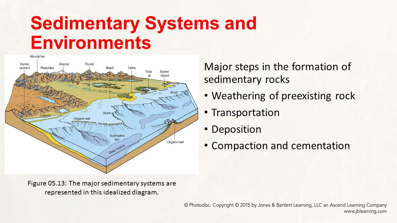 Sedimentary rocks chapter 5 dynamic earth major concepts 19 sedimentary systems and environments major steps in the formation of sedimentary rocks weathering of preexisting rock transportation deposition pooptronica Images