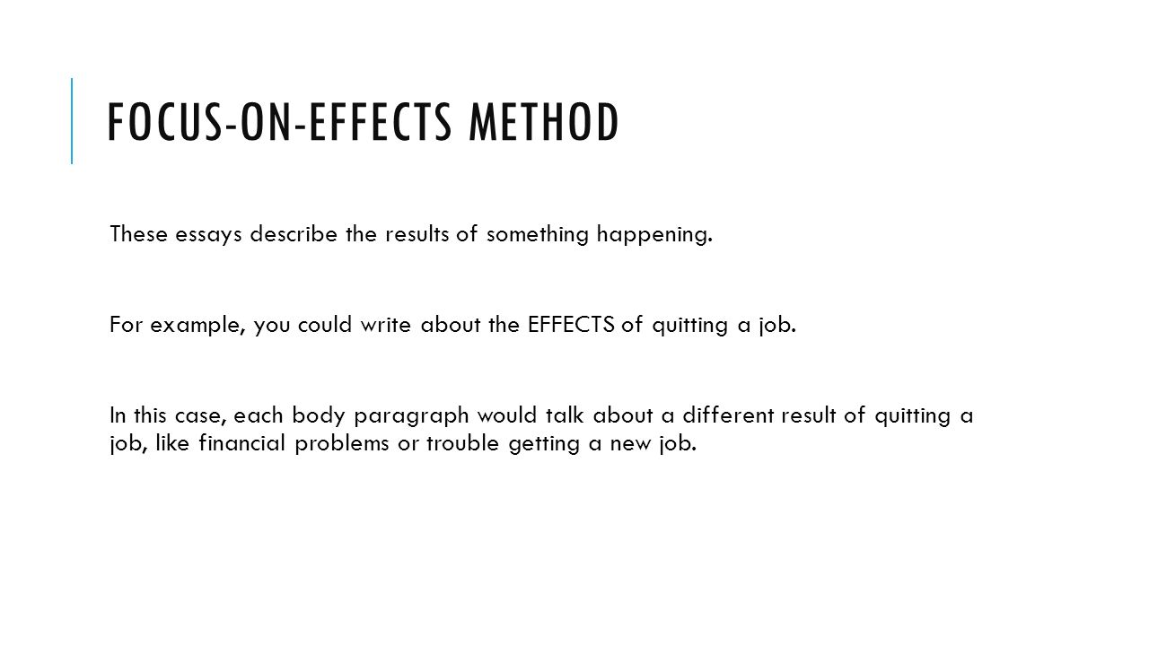 cause or effect essays unit 4 warm up exercise from now on we focus on effects method these essays describe the results of something happening