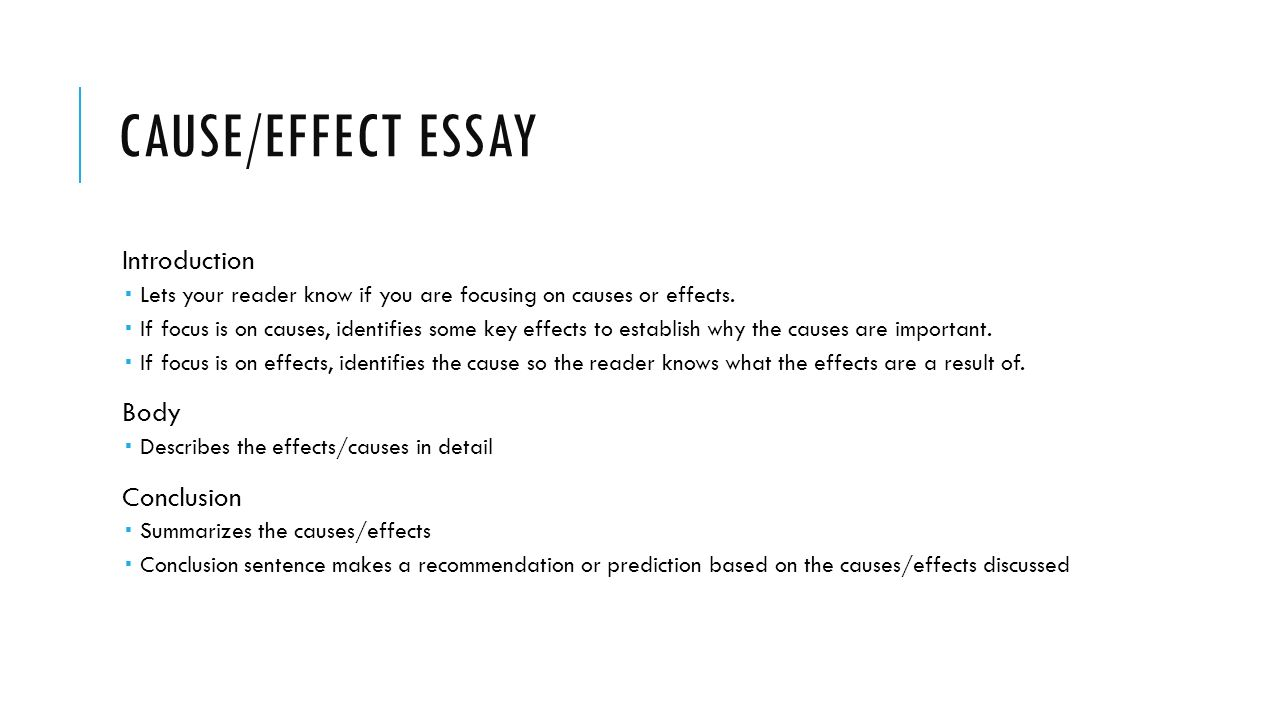 essay effects Cause and effect essay may take a start elaborating an event and describing as how and why this particular event happened this article is a brief description on sample cause and effect essay topics.