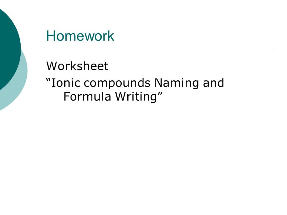 Chapter 4.2 Ionic Compounds Naming/Formula Writing Single valent ...