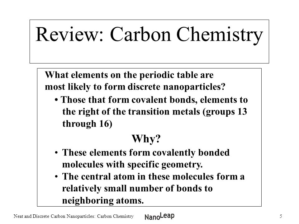 Neat and Discrete Carbon Nanoparticles Carbon Chemistry. - ppt ...