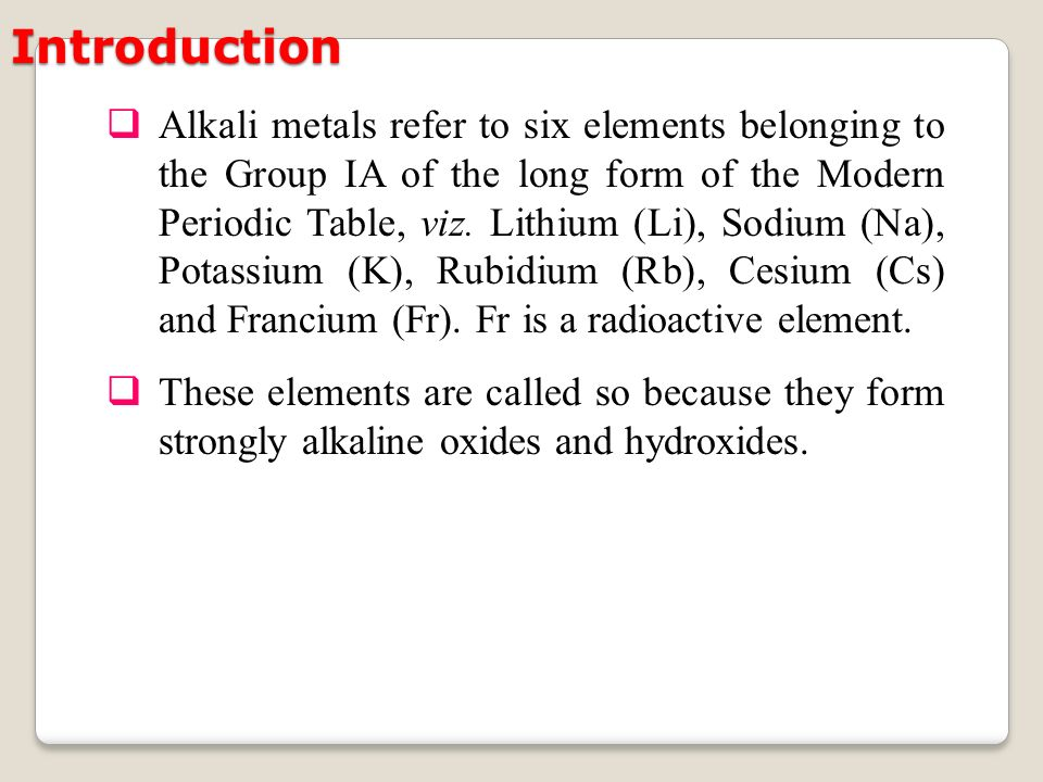 Alkali metals alkali metals refer to six elements belonging to alkali metals refer to six elements belonging to the group ia of the long form urtaz Choice Image
