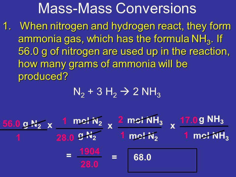 Mass-Mass Conversions 56.0 g N 2 x g N 2 g NH = 1904 = When ...