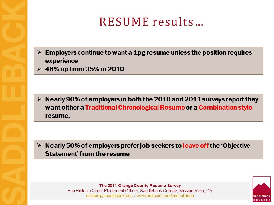 8 RESUME results The 2011 Orange County ...