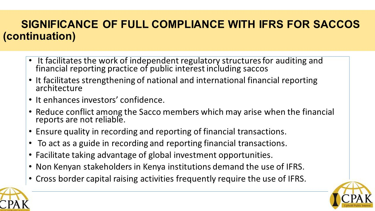 the role and significance of the international financial reporting standards