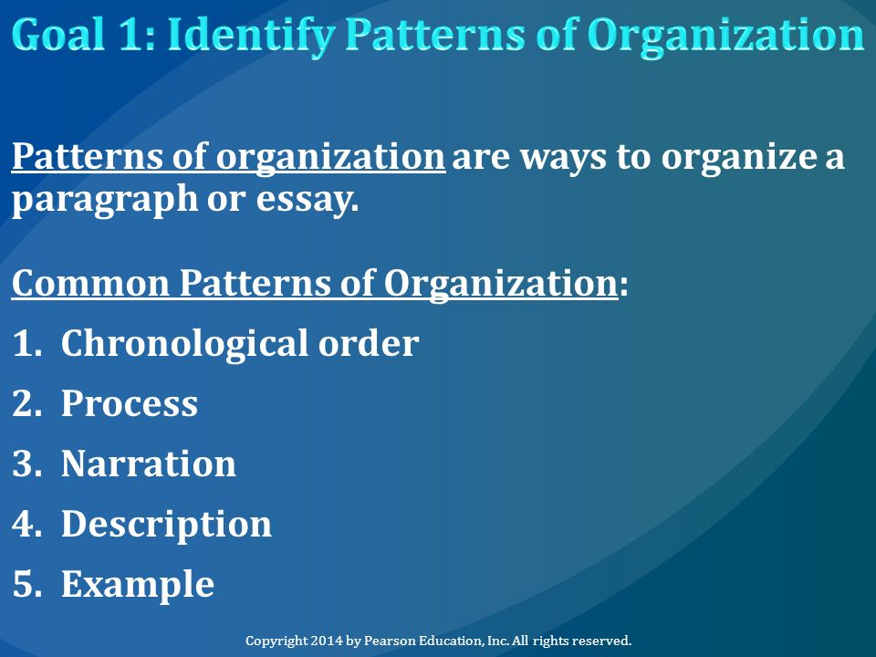 the most common organizational pattern for a process essay is