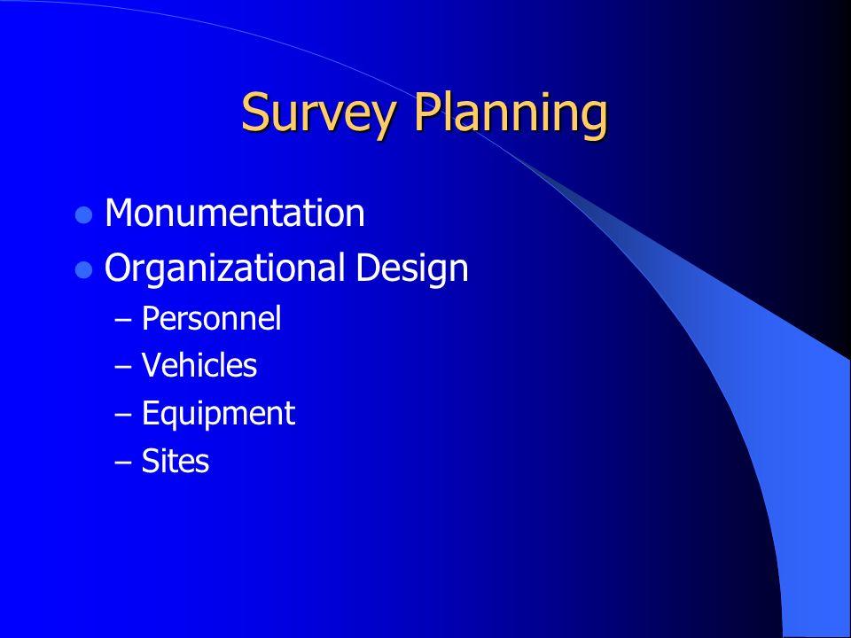 Survey Planning Monumentation Organizational Design – Personnel – Vehicles – Equipment – Sites