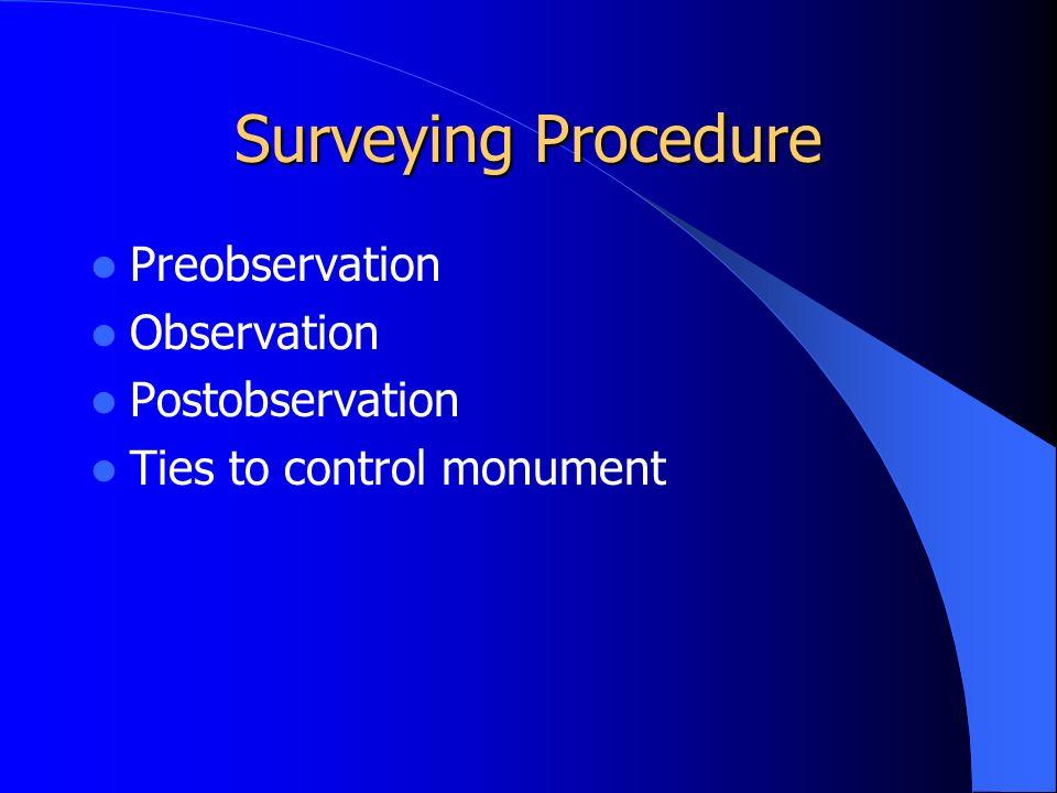 Surveying Procedure Preobservation Observation Postobservation Ties to control monument