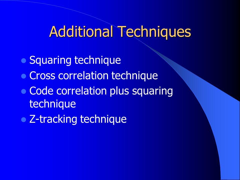 Additional Techniques Squaring technique Cross correlation technique Code correlation plus squaring technique Z-tracking technique