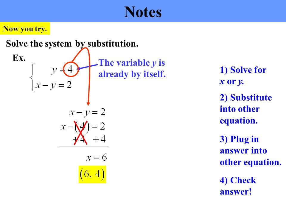 Notes Ex. Solve the system by substitution. 2) Substitute into other equation.