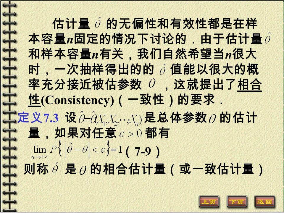 估计量 的无偏性和有效性都是在样 本容量 n 固定的情况下讨论的.由于估计量 和样本容量 n 有关,我们自然希望当 n 很大 时,一次抽样得出的的 值能以很大的概 率充分接近被估参数 ,这就提出了相合 性 (Consistency) (一致性)的要求. 定义 7.3 设 是总体参数 的估计 量,如果对任意 都有 ( 7-9 ) 则称 是 的相合估计量(或一致估计量)