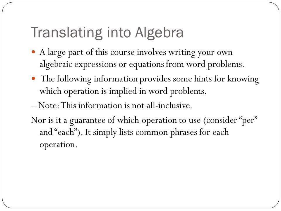 Translating Expressions And Equations Tessshebaylo – Translate Algebraic Expressions Worksheet
