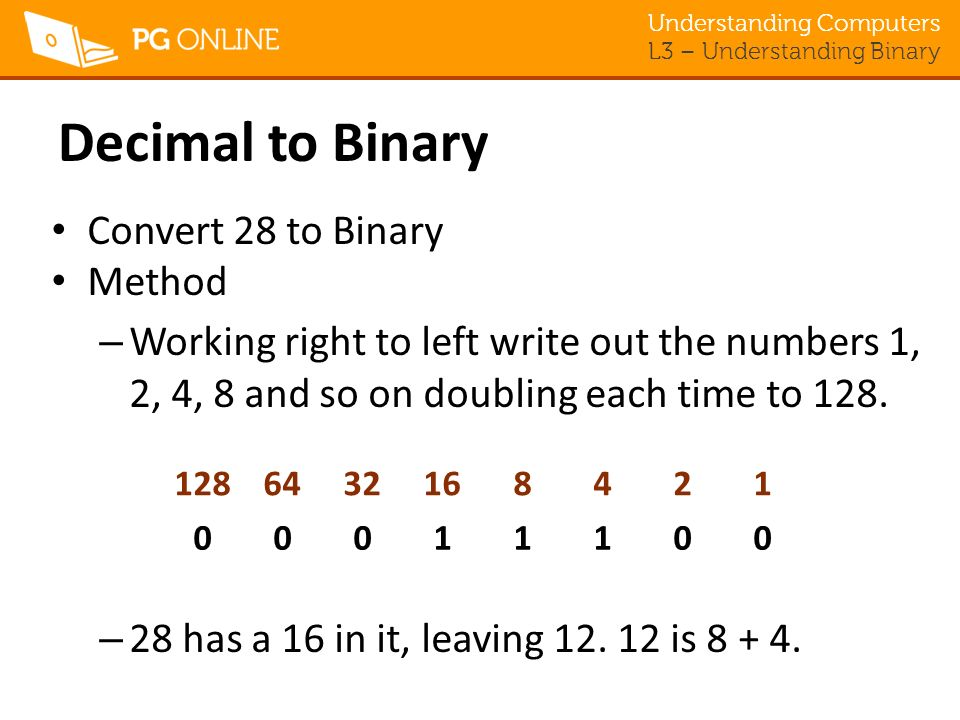 Understanding Computers L3 – Understanding Binary Decimal to Binary Convert 28 to Binary Method – Working right to left write out the numbers 1, 2, 4, 8 and so on doubling each time to 128.