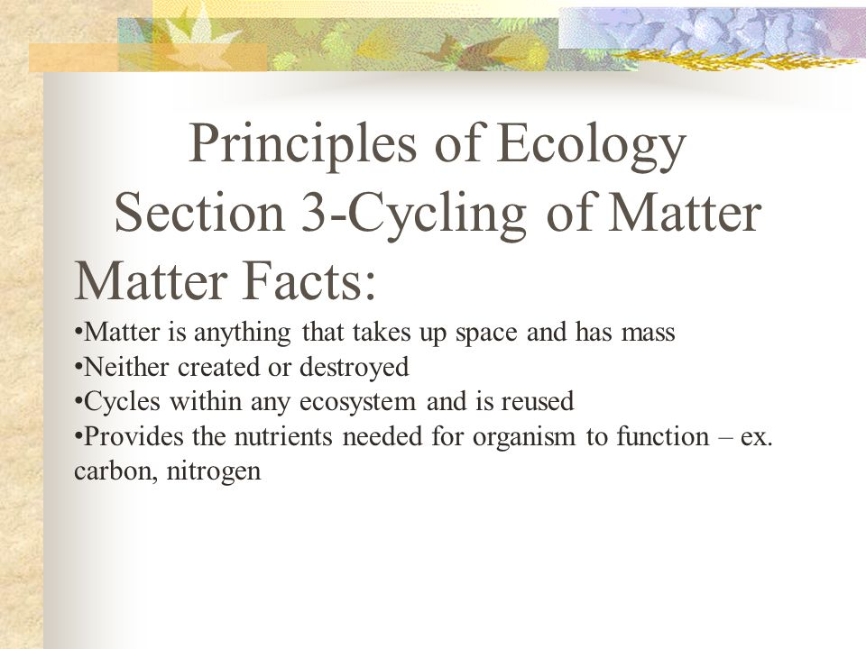 Principles of Ecology Section 3-Cycling of Matter Matter Facts: Matter is anything that takes up space and has mass Neither created or destroyed Cycles within any ecosystem and is reused Provides the nutrients needed for organism to function – ex.