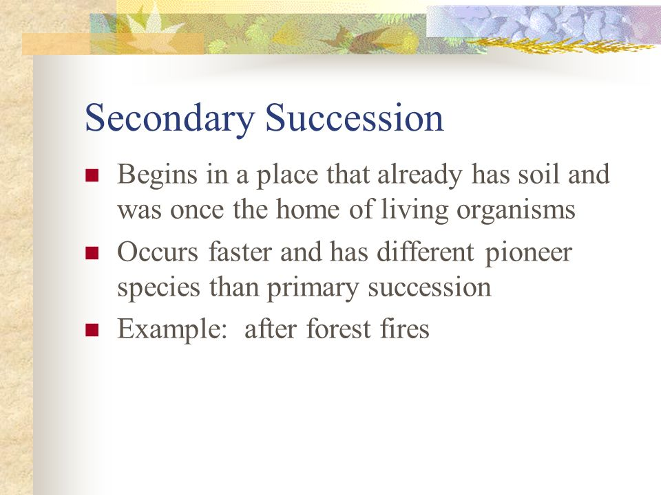 Secondary Succession Begins in a place that already has soil and was once the home of living organisms Occurs faster and has different pioneer species than primary succession Example: after forest fires
