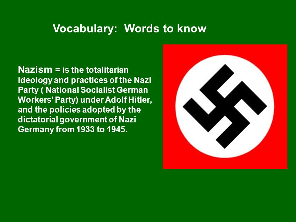 what was the nazis ideology in Key elements of the nazi ideology national socialist program racism especially anti-semitism, which eventually culminated in the holocaust.