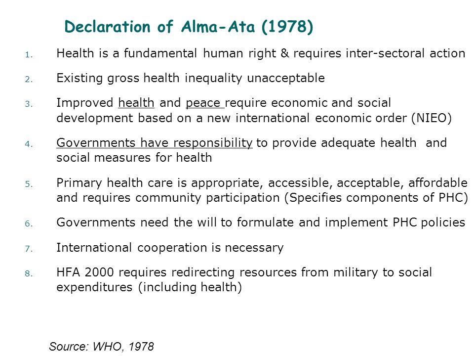 Declaration of Alma-Ata (1978) 1.