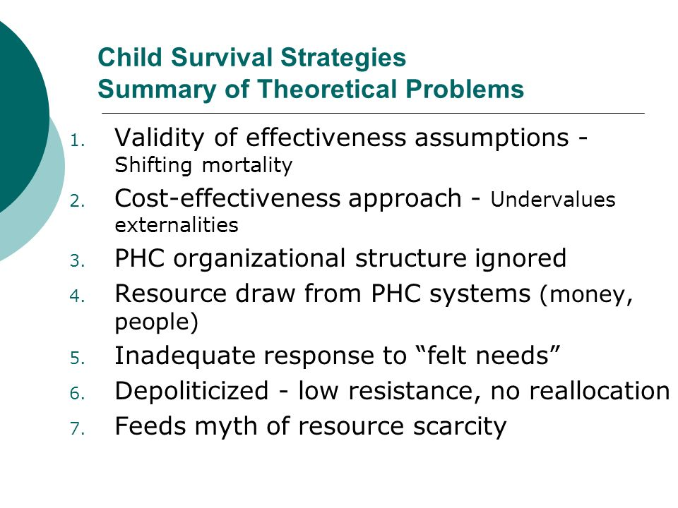 Child Survival Strategies Summary of Theoretical Problems 1.