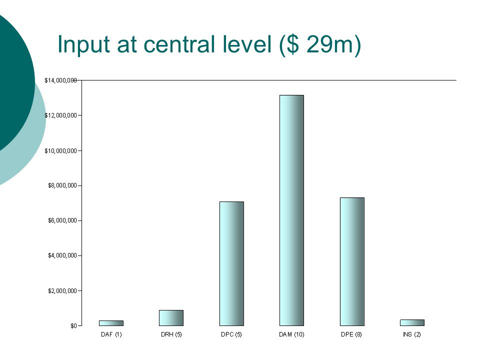 Input at central level ($ 29m)