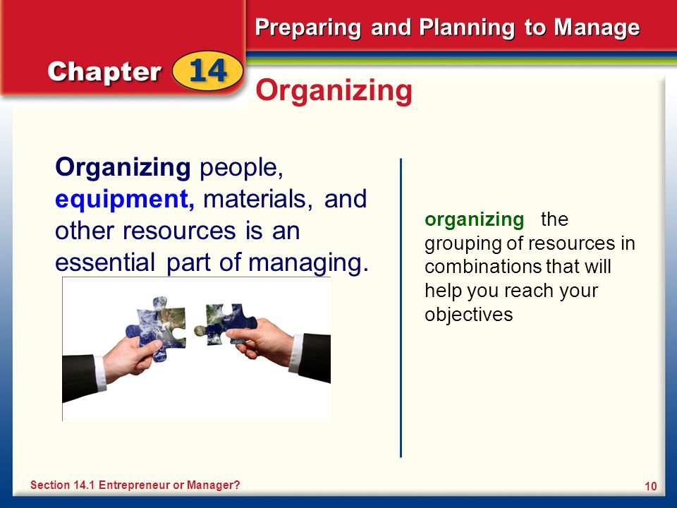 Preparing and Planning to Manage 10 Organizing Organizing people, equipment, materials, and other resources is an essential part of managing.