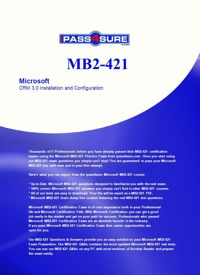 Mb2 421 microsoft crm 30 installation and configuration thousands mb2 421 microsoft crm 30 installation and configuration thousands of it professionals before you have 1betcityfo Images