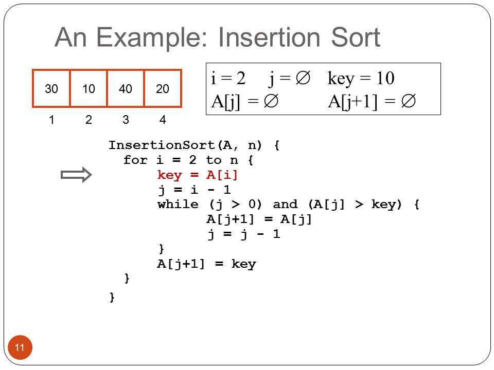 An Example: Insertion Sort InsertionSort(A, n) { for i = 2 to n { key = A[i] j = i - 1 while (j > 0) and (A[j] > key) { A[j+1] = A[j] j = j - 1 } A[j+1] = key } } i = 2 j =  key = 10 A[j] =  A[j+1] =  11