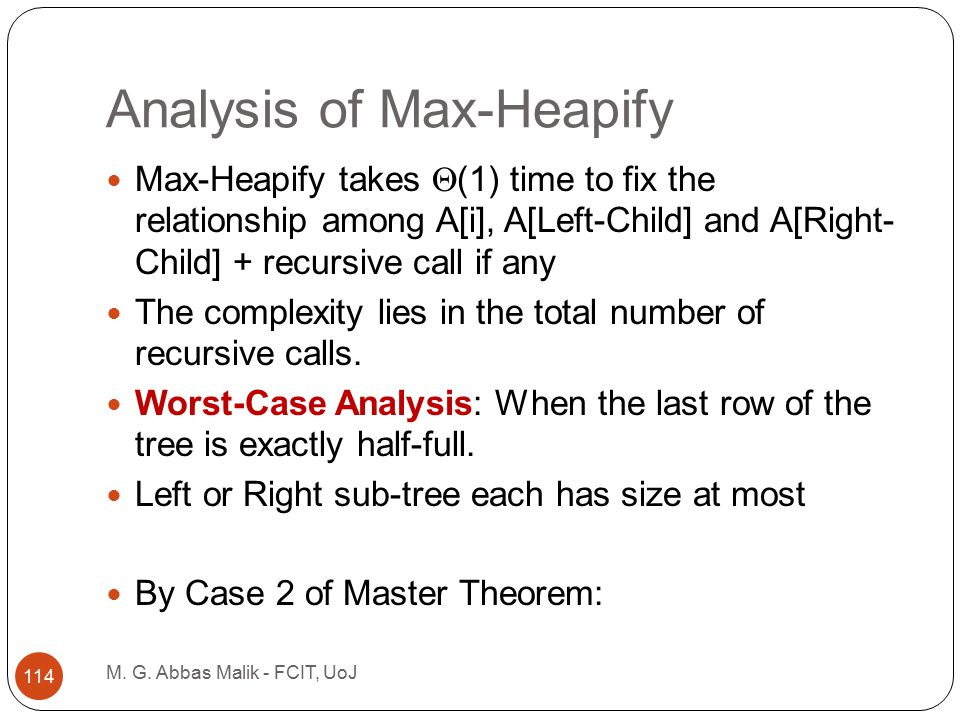 Analysis of Max-Heapify M. G.