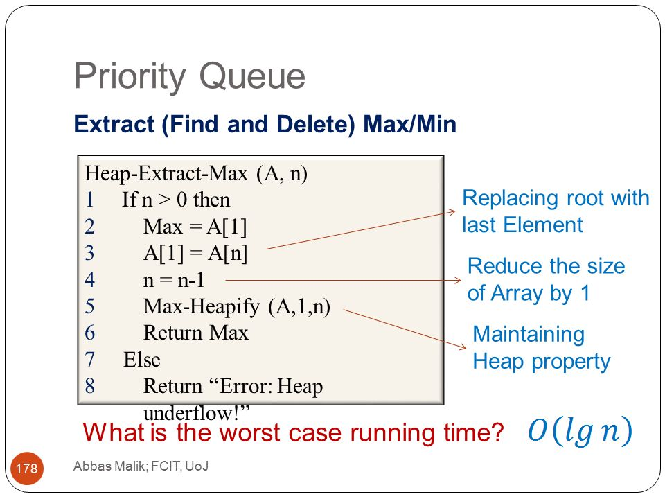 Priority Queue Abbas Malik; FCIT, UoJ 178 Extract (Find and Delete) Max/Min Heap-Extract-Max (A, n) 1If n > 0 then 2Max = A[1] 3A[1] = A[n] 4n = n-1 5Max-Heapify (A,1,n) 6Return Max 7Else 8Return Error: Heap underflow! Replacing root with last Element Reduce the size of Array by 1 Maintaining Heap property What is the worst case running time