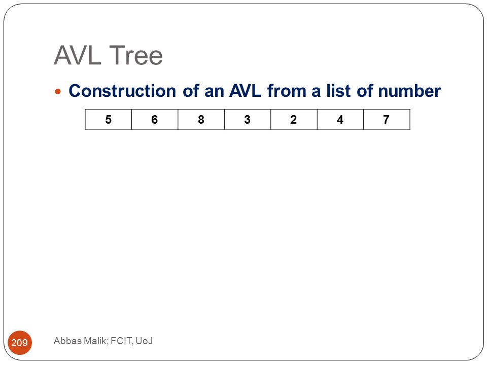 AVL Tree Abbas Malik; FCIT, UoJ 209 Construction of an AVL from a list of number