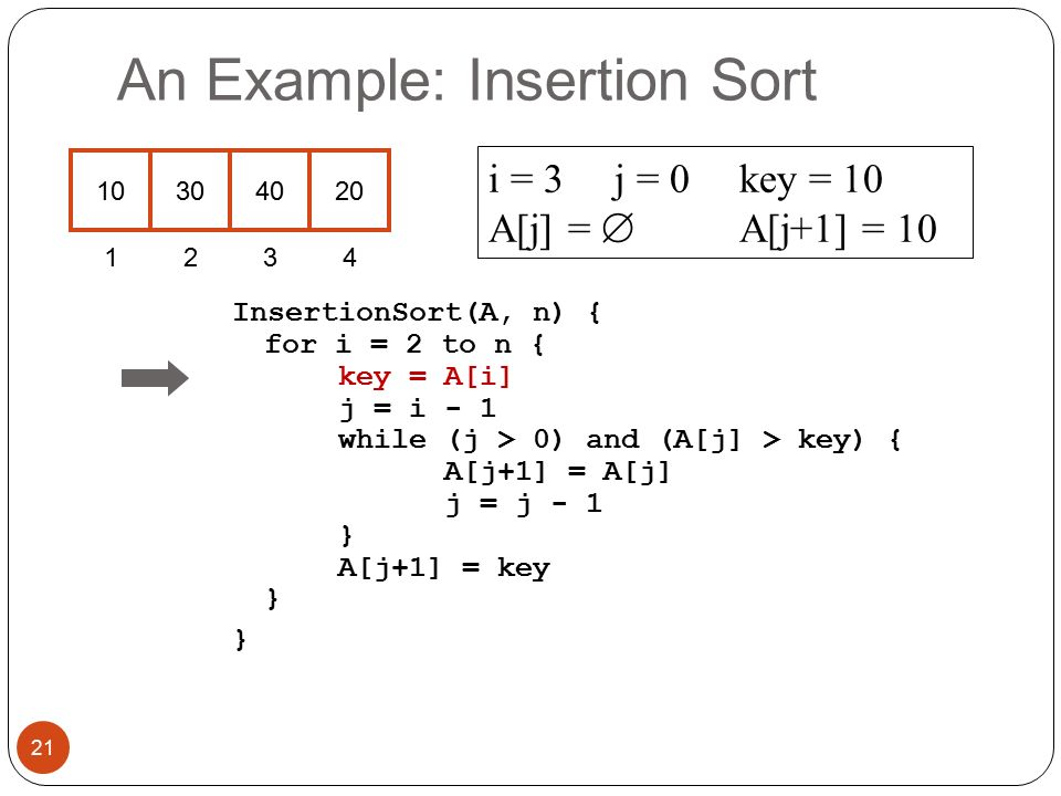 An Example: Insertion Sort InsertionSort(A, n) { for i = 2 to n { key = A[i] j = i - 1 while (j > 0) and (A[j] > key) { A[j+1] = A[j] j = j - 1 } A[j+1] = key } } i = 3j = 0key = 10 A[j] =  A[j+1] = 10 21