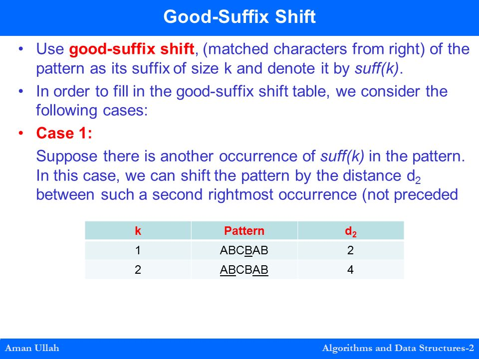 Use good-suffix shift, (matched characters from right) of the pattern as its suffix of size k and denote it by suff(k).