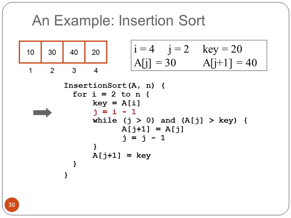 An Example: Insertion Sort InsertionSort(A, n) { for i = 2 to n { key = A[i] j = i - 1 while (j > 0) and (A[j] > key) { A[j+1] = A[j] j = j - 1 } A[j+1] = key } } i = 4j = 2key = 20 A[j] = 30 A[j+1] = 40 30