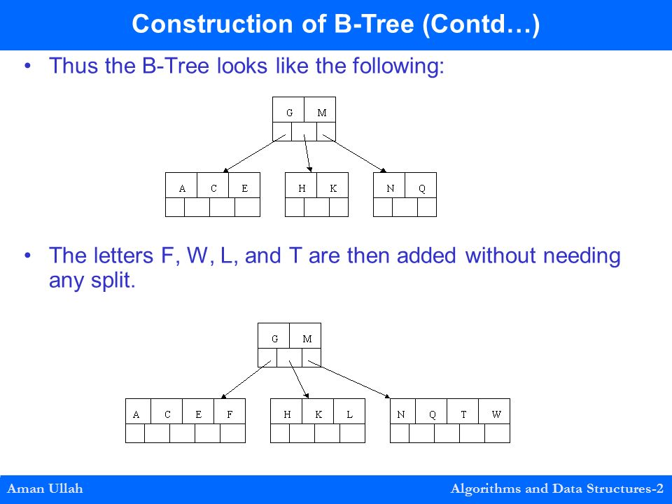 Thus the B-Tree looks like the following: The letters F, W, L, and T are then added without needing any split.