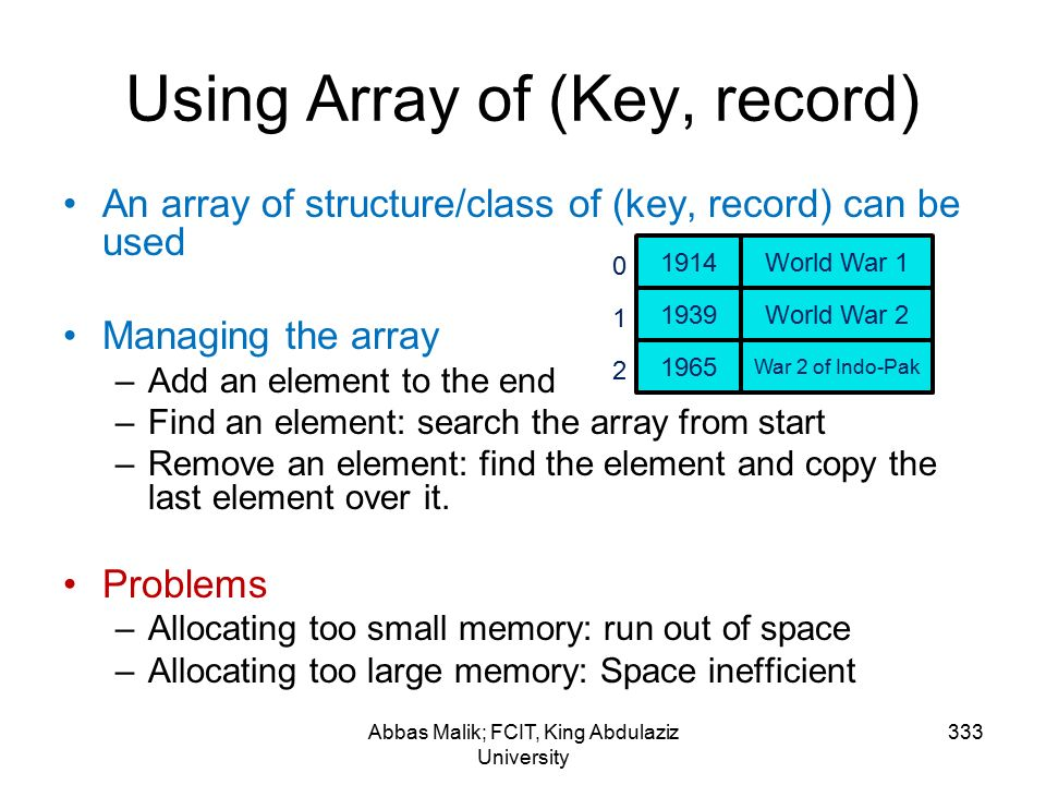 Using Array of (Key, record) Abbas Malik; FCIT, King Abdulaziz University 333 An array of structure/class of (key, record) can be used Managing the array –Add an element to the end –Find an element: search the array from start –Remove an element: find the element and copy the last element over it.