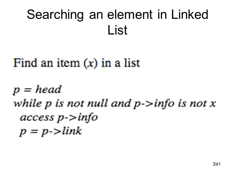 Searching an element in Linked List 341