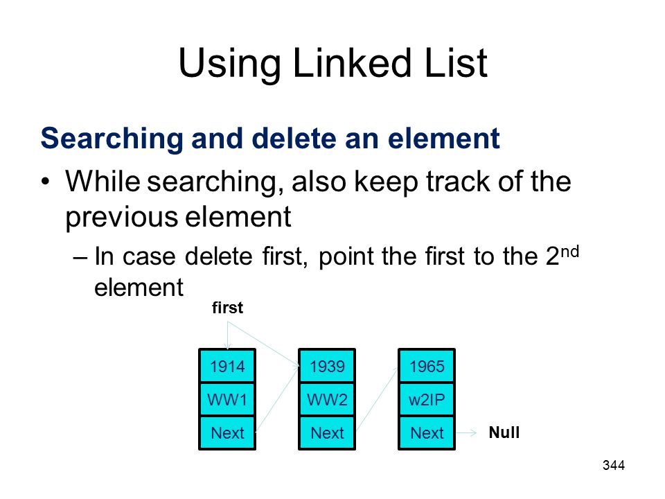 Using Linked List 344 Searching and delete an element While searching, also keep track of the previous element –In case delete first, point the first to the 2 nd element WW Next first Null WW Next w2IP 1965 Next