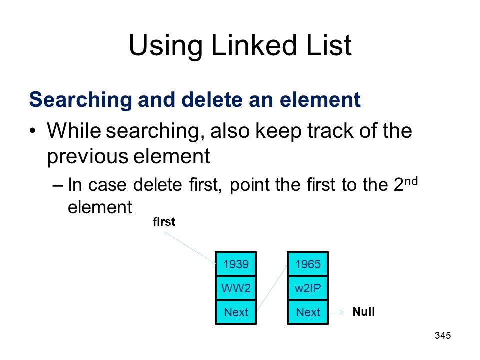 Using Linked List 345 Searching and delete an element While searching, also keep track of the previous element –In case delete first, point the first to the 2 nd element first Null WW Next w2IP 1965 Next