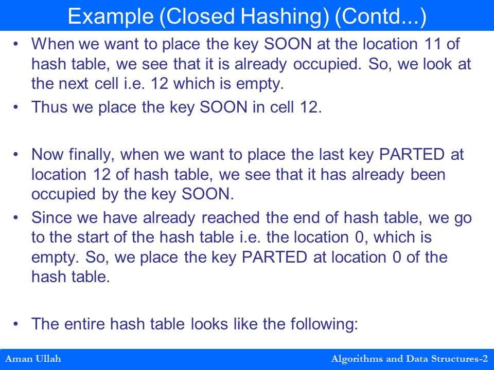 When we want to place the key SOON at the location 11 of hash table, we see that it is already occupied.