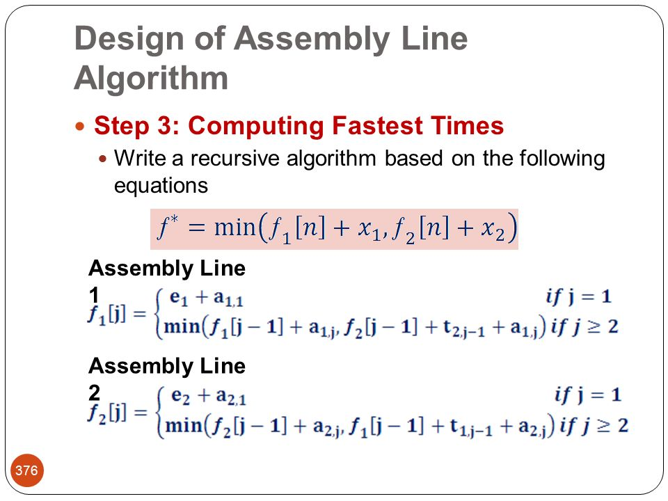 Design of Assembly Line Algorithm 376 Step 3: Computing Fastest Times Write a recursive algorithm based on the following equations Assembly Line 1 Assembly Line 2