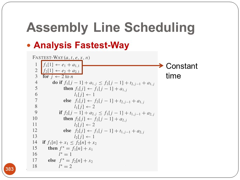 Assembly Line Scheduling Abbas Malik; FCIT, King Abdulaziz University 383 Analysis Fastest-Way Constant time