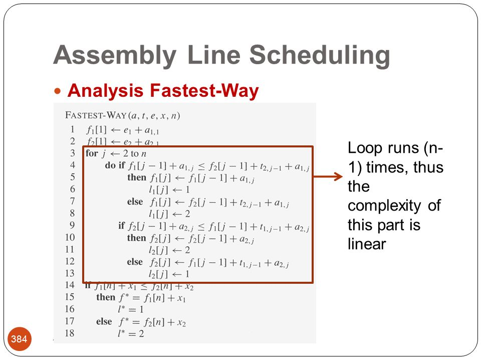 Assembly Line Scheduling Abbas Malik; FCIT, King Abdulaziz University 384 Analysis Fastest-Way Loop runs (n- 1) times, thus the complexity of this part is linear
