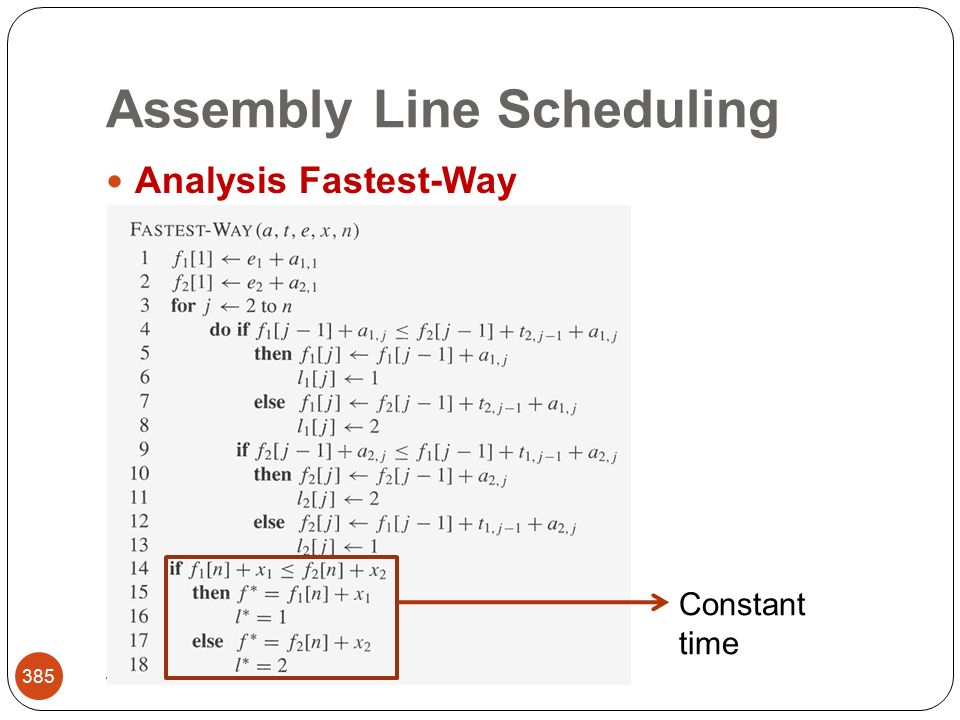 Assembly Line Scheduling Abbas Malik; FCIT, King Abdulaziz University 385 Analysis Fastest-Way Constant time