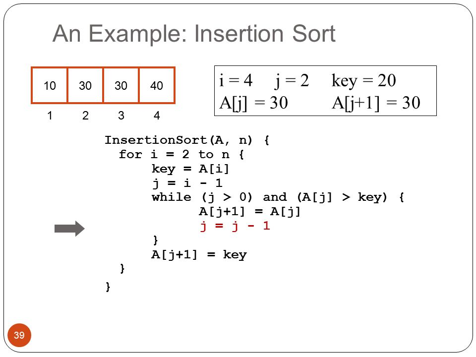 An Example: Insertion Sort InsertionSort(A, n) { for i = 2 to n { key = A[i] j = i - 1 while (j > 0) and (A[j] > key) { A[j+1] = A[j] j = j - 1 } A[j+1] = key } } i = 4j = 2key = 20 A[j] = 30 A[j+1] = 30 39