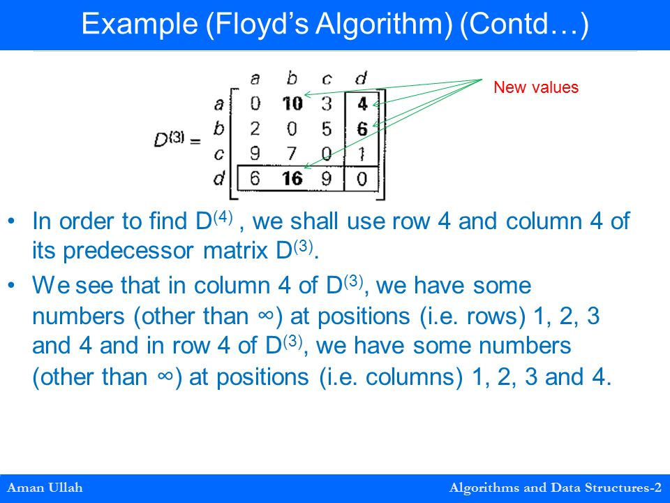 Examples In order to find D (4), we shall use row 4 and column 4 of its predecessor matrix D (3).