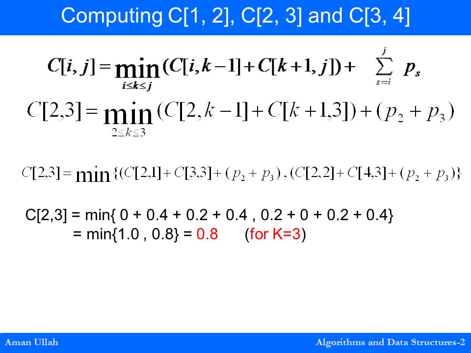 Aman Ullah Algorithms and Data Structures-2 Computing C[1, 2], C[2, 3] and C[3, 4] C[2,3] = min{ , } = min{1.0, 0.8} = 0.8 (for K=3)